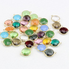 JFG0505 Wholesale crystal gemstone bezel round connectors