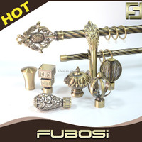 Hot sale double round curtain rods/ bronze curtain rod accessories