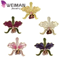 Glod plated crystal orchid flower brooch