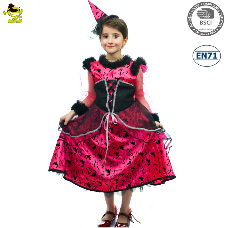 New Design Popular Witch Costumes Halloween Elegant Fairy With Hat Dress-up Outfit Girls Pretty Enchantress Cosplay for Party