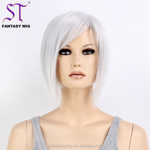 Wholesale Luxurious Short Straight Synthetic Hair Wig Sliver Gray Wig For Women