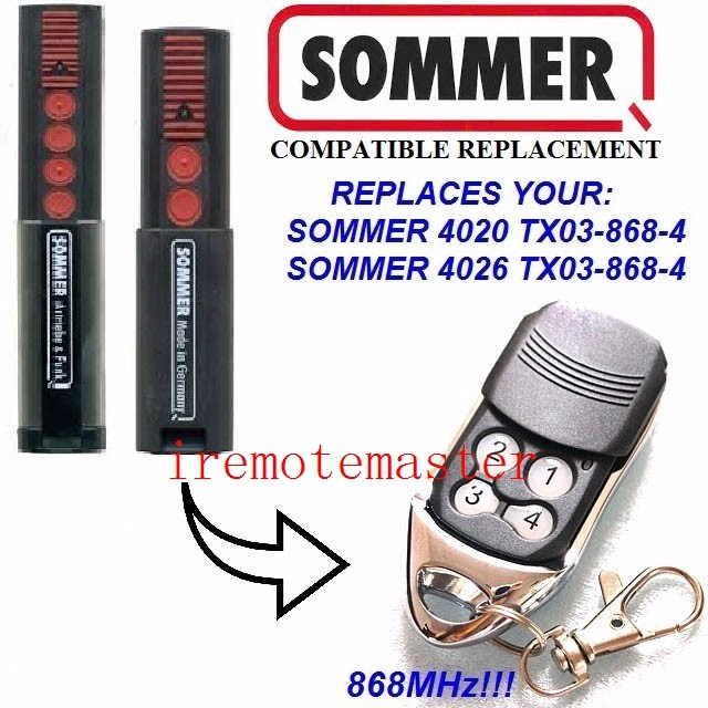 For SOMMER 4020 4026 868 MHz Remote control replacement, remote transmitter with HomeLink +