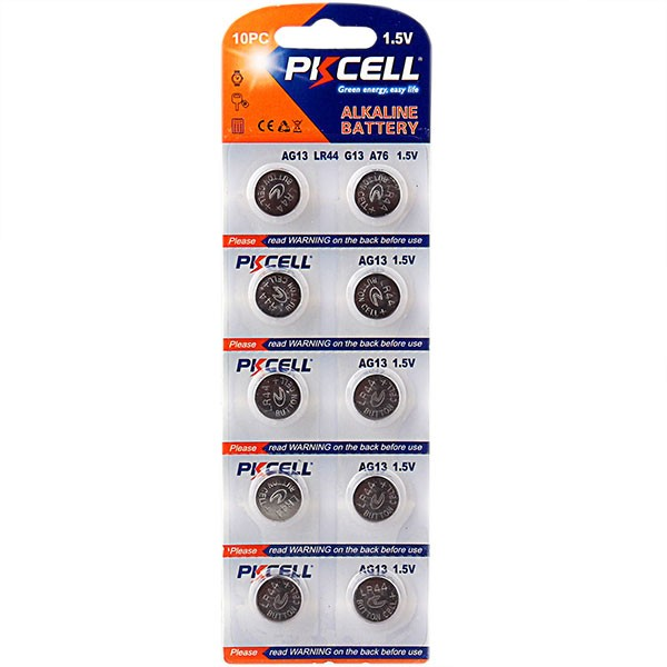 0% hg pb PKCELL 1.5v lr44 ag13 alkaline batteries non rechargeable button cell