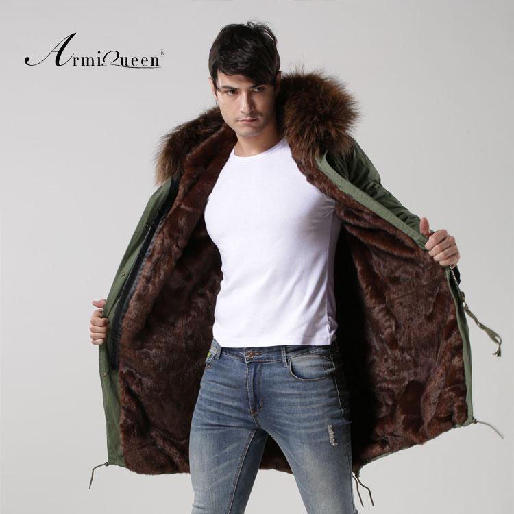Deep Coffee Color Long Styel Real Rabbit Fur Man Jacket / Parka ...