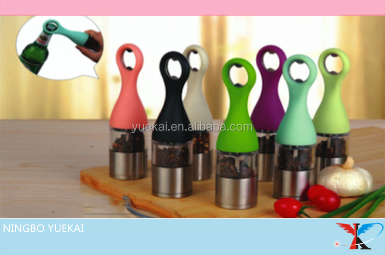 colorful Salt And Pepper Grinder, Bottle Opener Stainless Steel Pepper And Salt Mill With Adjustable Coarseness