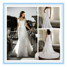 Romantic Satin Slim-Line latest designs Bridal Real sample Wedding Gown 2015 (WDES-1041)