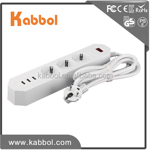 Europe market new 3 way outlet 3 usb ports 6A Max extension socket power strip