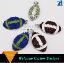 Yiwu Manufacturer OEM Silver Rhinestone Sport Football Charm for Jewelry Making