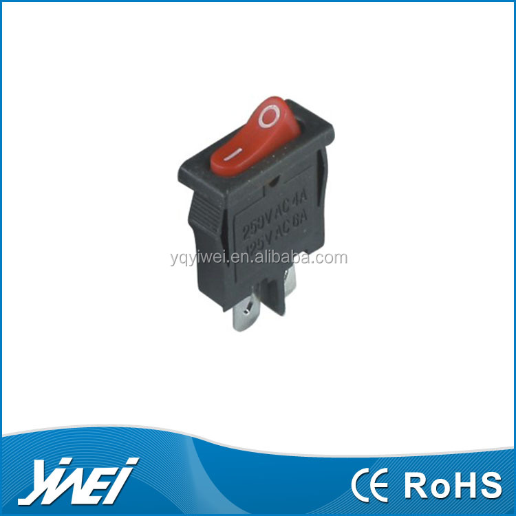 mini rocker switch O I mark red rocker 2 pins 21*9.6mm size on off circuit Rocker Switch SPST Series