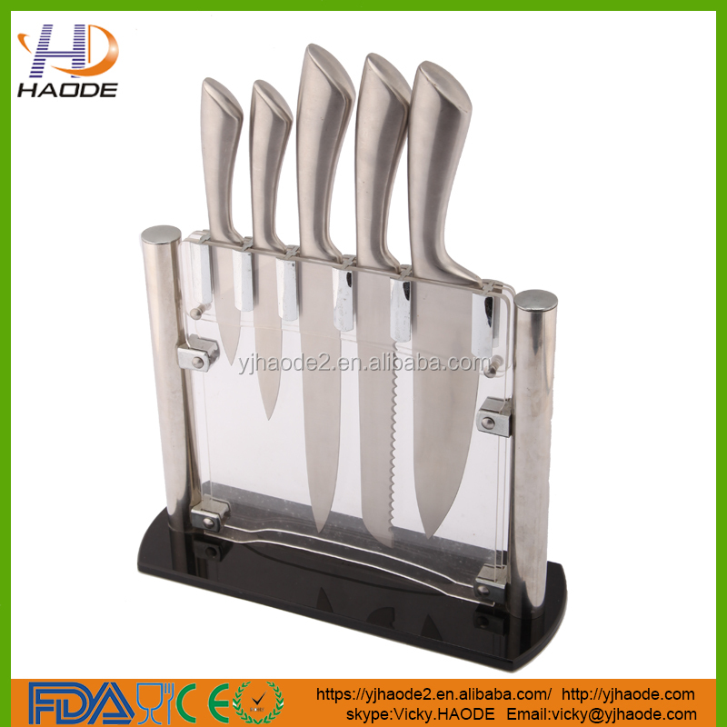 China Factory supplier 6 Piece Stainless Steel Kitchen knife set With Acrylic Block