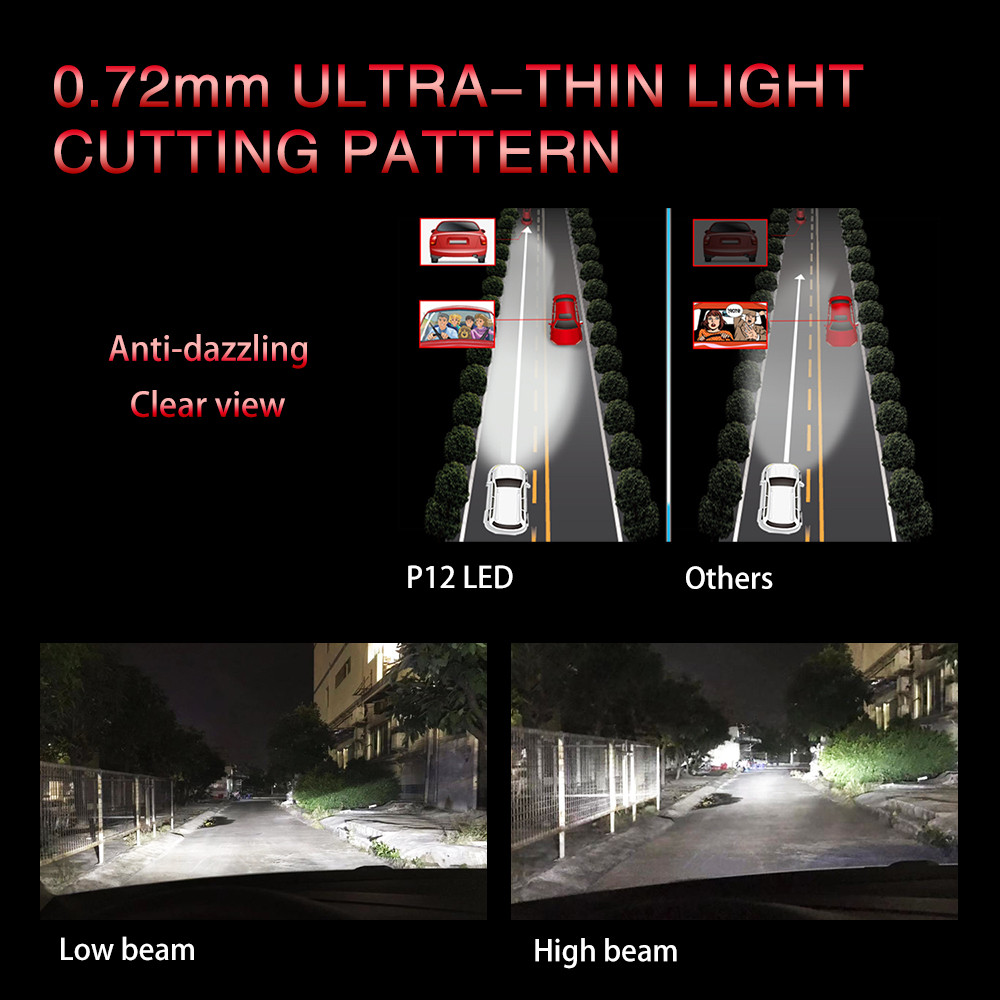 0.72mm  ultra-thin light cutting pattern P12 series projector led car led headlight  90 w  6500lum  led light car