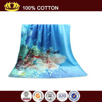 wholesaler microfiber customized sea and fish printed beach towel