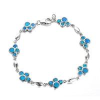 Solid 925 Sterling Silver Women Blue Dog Footprints Men Designer Bracelets