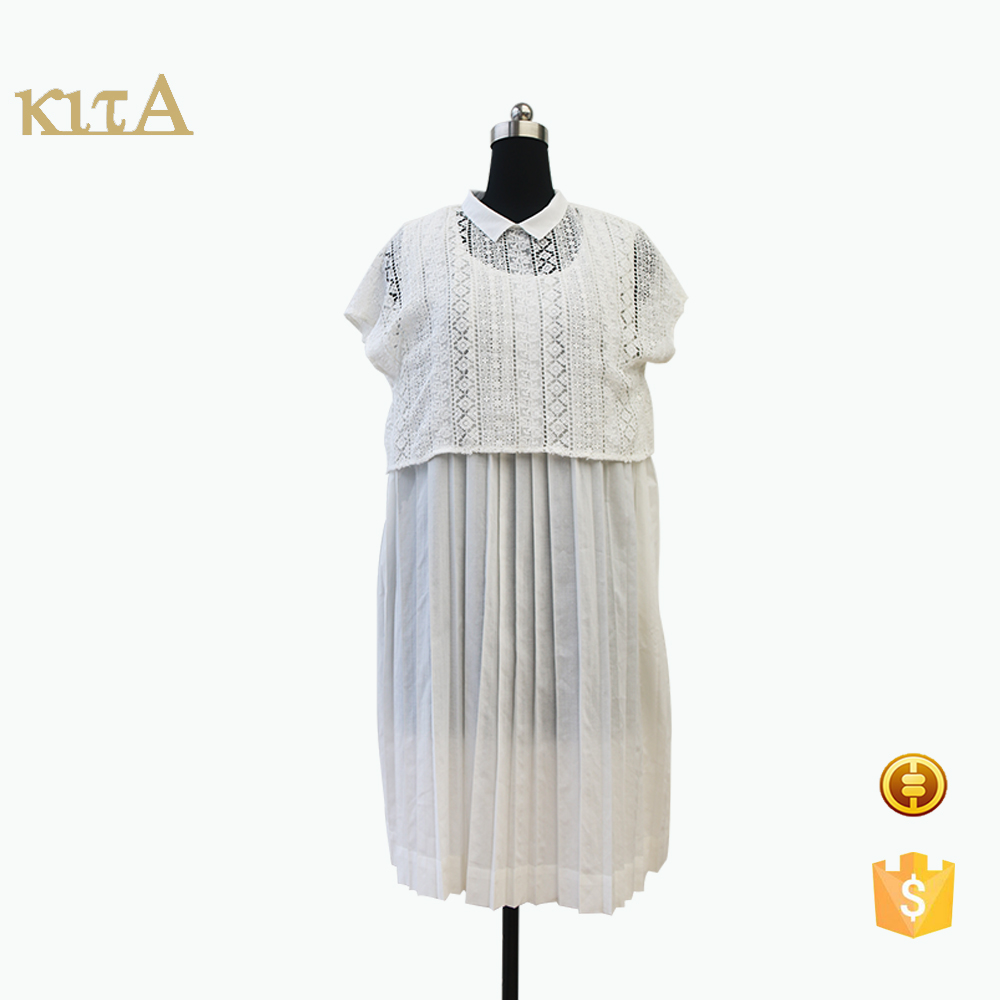Wholesale Summer latest sweet wrinkled Lace top dress