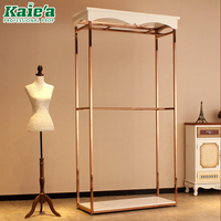 Garment hang display stand shop retail stainless steel hanging clothes display racks for clothing Shop