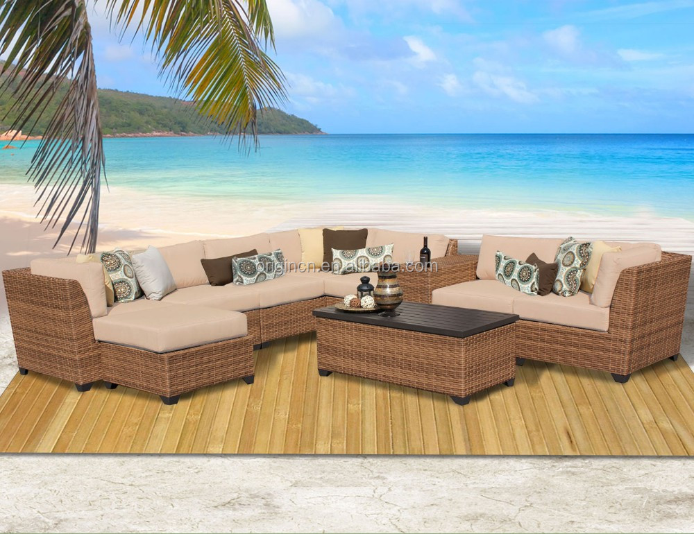 L shape recliner design outdoor wicker sofa with cup table and armchair resort furniture