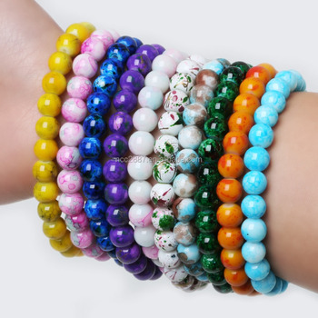 High Quality 2016 Handmade Natural Stone Stretch/Elastic Glass Beads Charm Bracelets Women Fashion Jewelry Gifts DH-JSB176-01