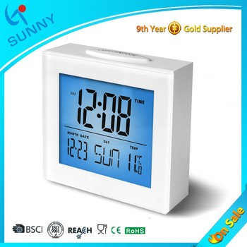 Sunny Weather Station LCD Digital Alarm Clock With Big Snooze Light Button