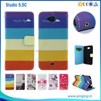 new product pu printed Stand Wallet flip cover Leather Case for BLU STUDIO 5.5 C D690U