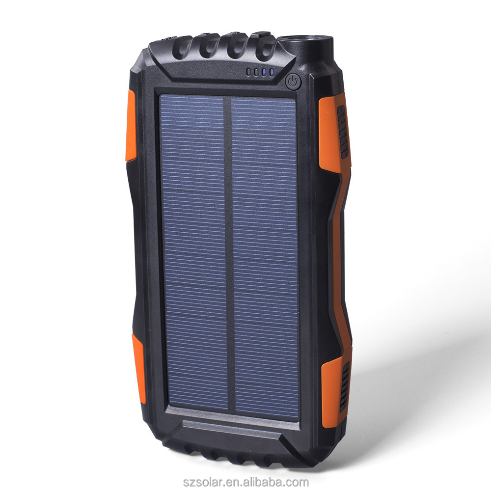 2017 new best selling new products solar power bank for mobile phone, solar charger for kinds of device with LED lights