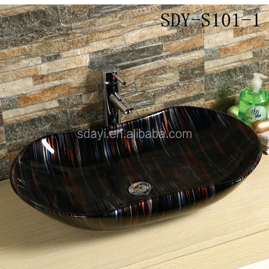 ceramic sanitary ware colorful wash sink marble countertop sink