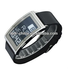 E Ink Watches Stainless Steel Case Silicone Strap