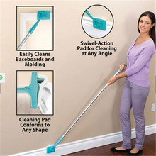 Baseboard Buddy Cleaning Mop Blue Plastic Steel white Mop Simply Walk &Glide Extendable Microfiber Dust Brush