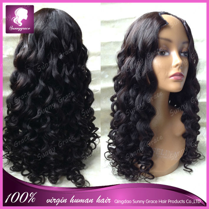 Hot sale Brazilian virgin human hair wig wavy hair natural black middle part 150% density <strong>U</strong> part wigs for black women