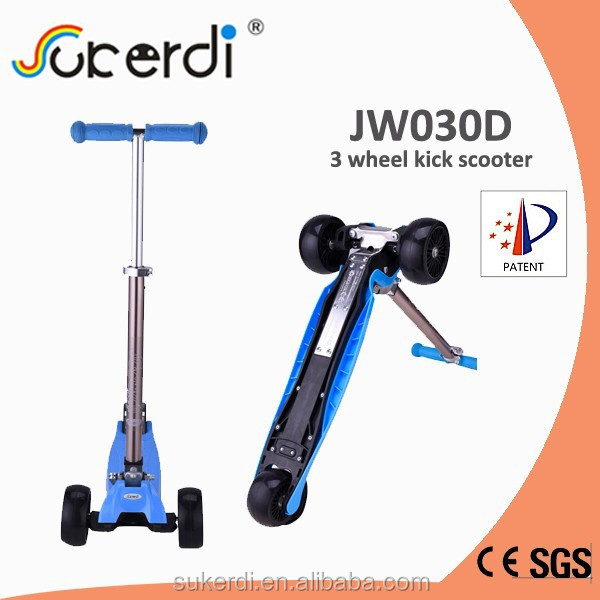 New product foldable big wheel child push scooter 3 wheel kids scooter