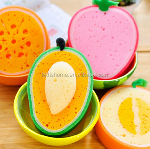 Factory beautiful mango fruit shape pu bath sponge