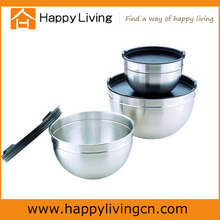 Household items made china stainless steel round mixing bowl with black Plastic Lid