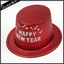 Hot selling Happy New Year plastic glitter top party hat for adults