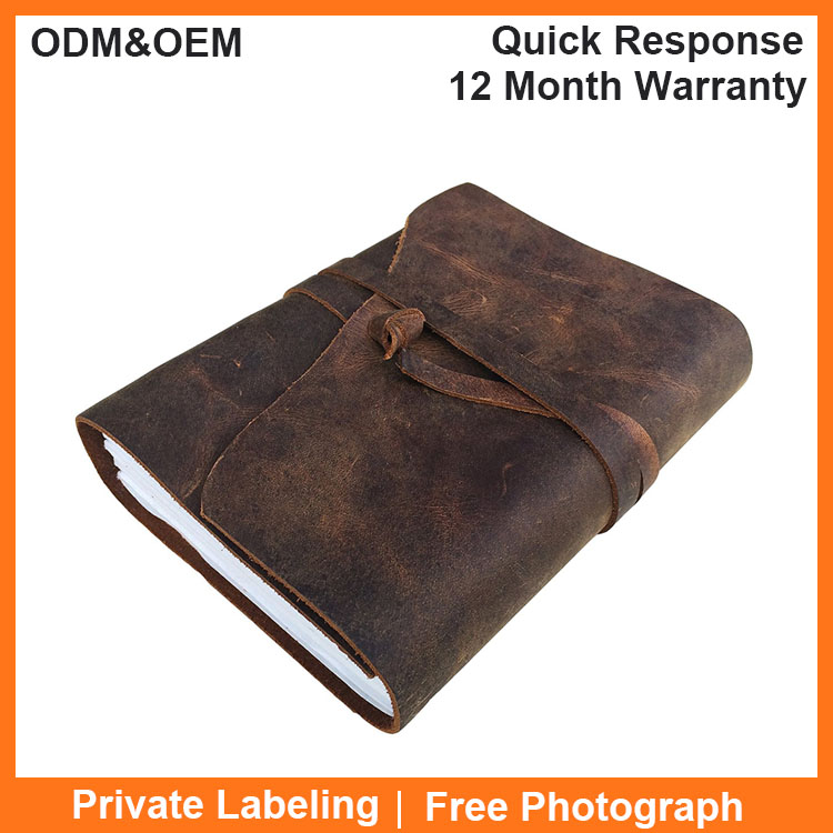 Wholesale Custom Embossed A5 Blank Handmade Vintage Travelers Writing Genuine Leather Cover Notebook Journal