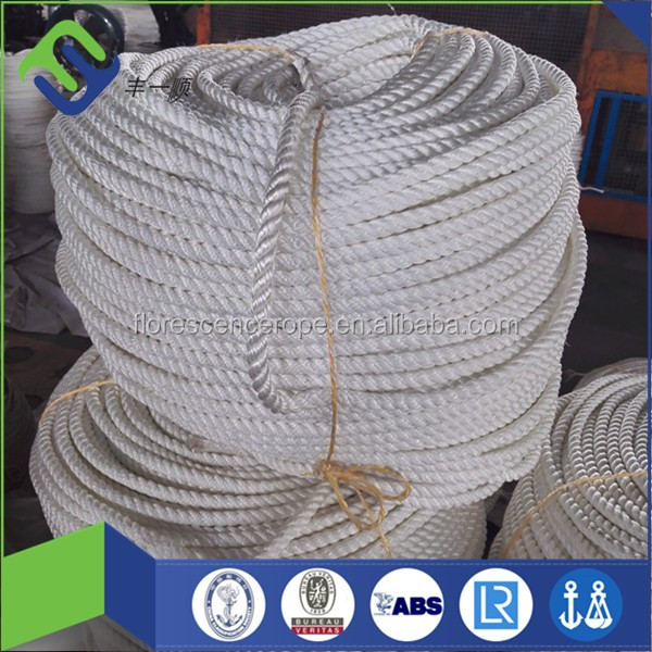 1 Inch White Color 3 Strand Twisted Nylon Polyamide Rope For Sale