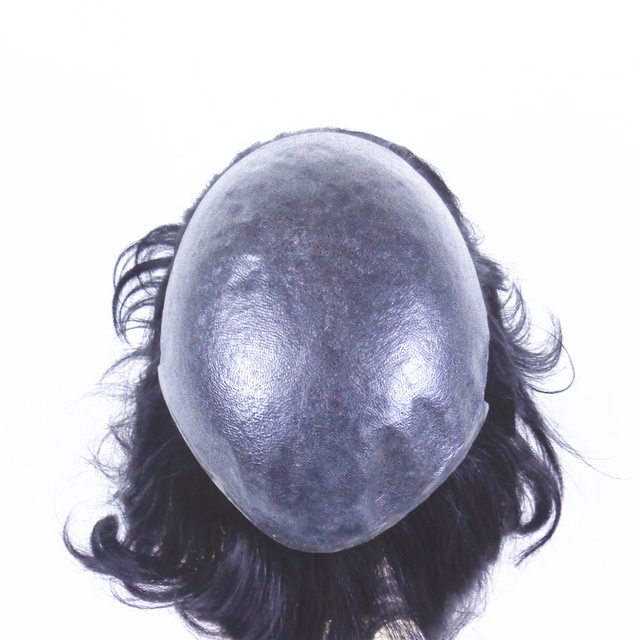 Human Hair toupee piece inject skin fish net base toupee for men