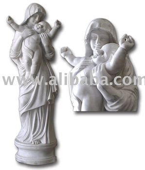 marble statue- Virgin Mary with Baby