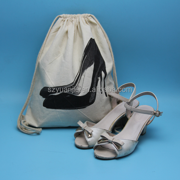 cotton ladies shoes matching bag with drawstring