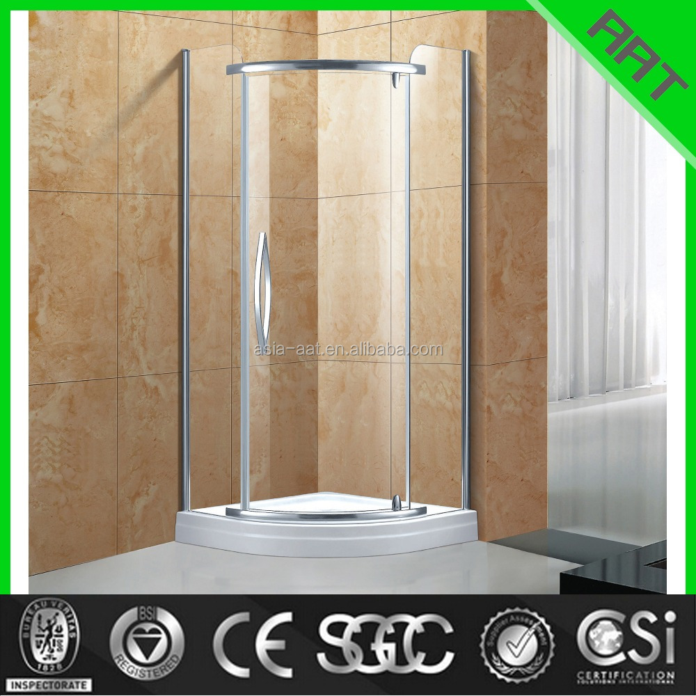 fan-shape corner glass shower steam room