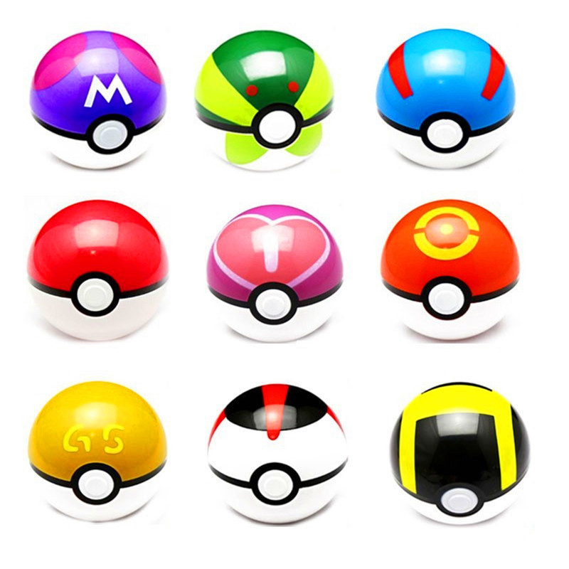 2 Pcs/Lot Pokemon <strong>Ball</strong>+ Pikachu 10cm Anime Action Figures PokeBall For Kids Child