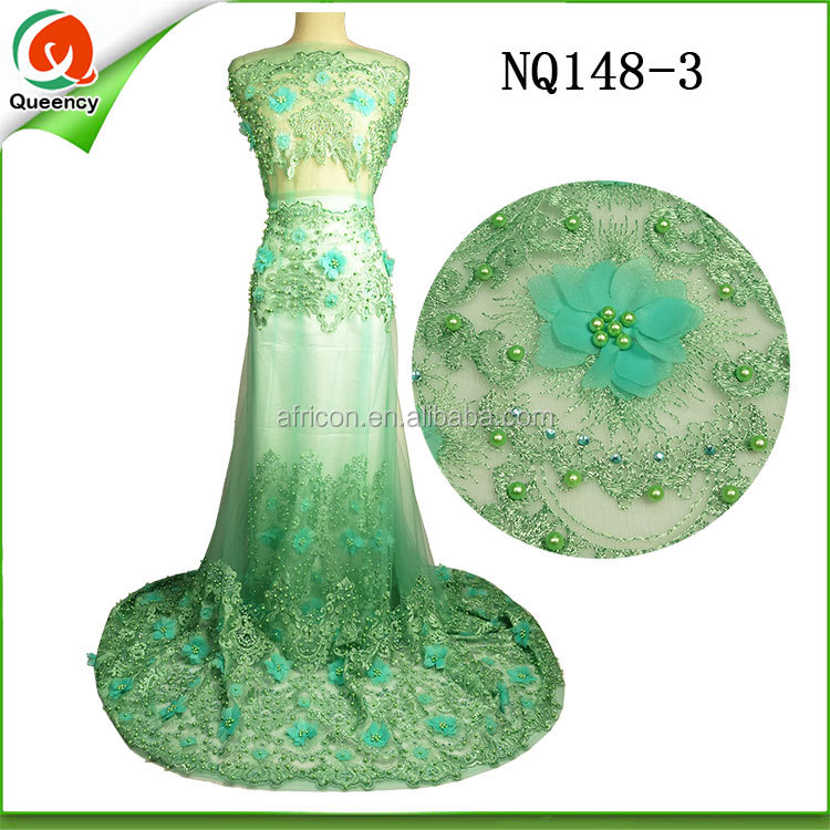 alibaba mint green beaded nigerian dress fabric 3d printed applique flower french net lace with pearls