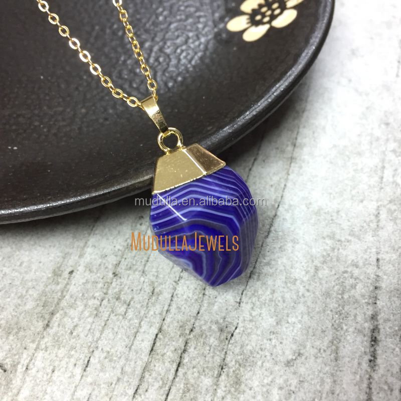 NM5497 Banded Agate Necklace, Planet Necklace, Teardrop Purple Agate Gold Pendant Necklace Gift For Friend