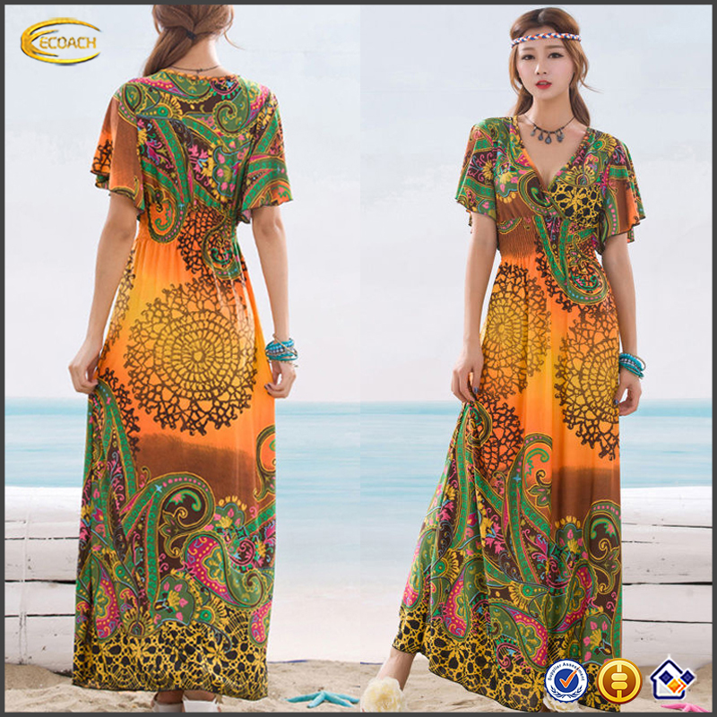 Ecoach wholesale summer holiday women floral printing india bohemian maxi dress bohemian dress