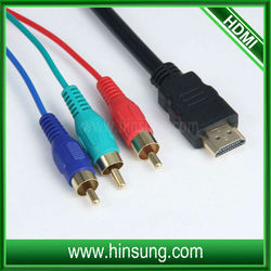 low price hdmi to 3 rca cable with length optional