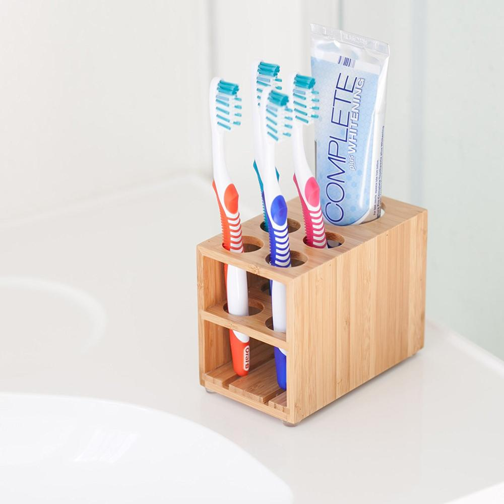 Toothbrush and Toothpaste Holder Stand for Bathroom Vanity Storage, Bamboo, 5 slots._SL1500_.jpg