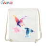 Cotton canvas drawstring bags with new design print backpack packaging bag