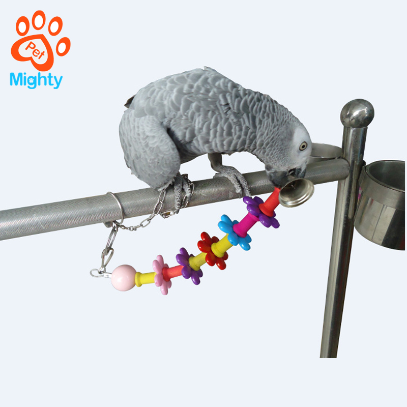 Acrylic bird play toys accessories flower with bells bird chew toys