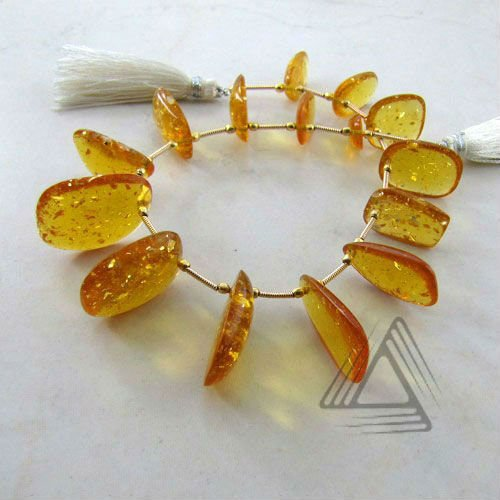 Amber Smooth Slice Bead Strands, Natural Wholesale Precious & Semi Precious Color Gemstone from Jaipur
