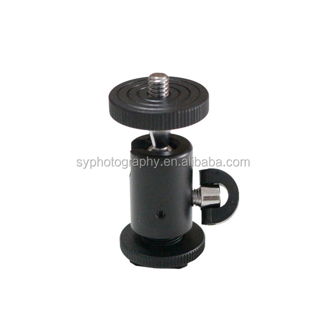 360 Degree Photography Equipment 1/4'' Hot Shoe Mount Adapter All-Metal Tripod Ball Head