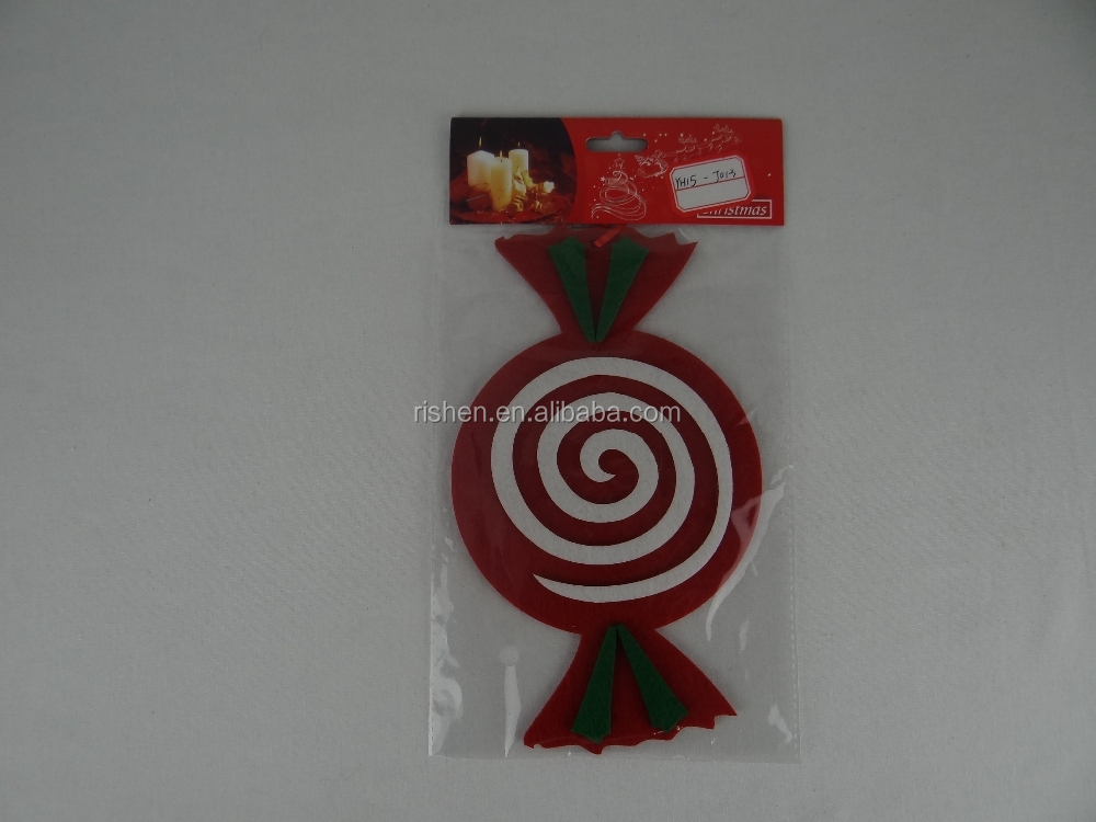wholesale christmas hanging decoration lovely plush toy felt candy
