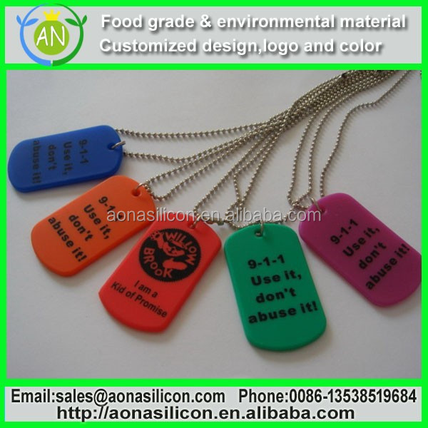 Stainless Steel Dog Tag With Silicon Surround|silicone dog tag for promotion or decaration gift